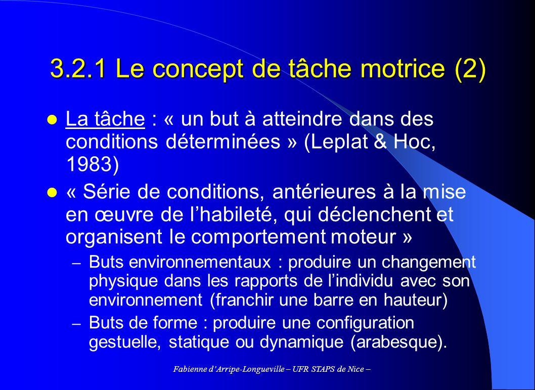 3.2.1 Le concept de tâche motrice (2)