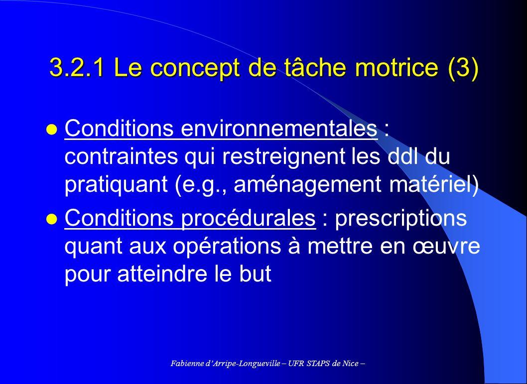 3.2.1 Le concept de tâche motrice (3)