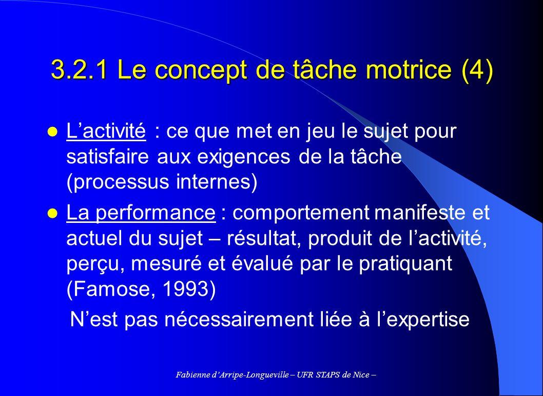 3.2.1 Le concept de tâche motrice (4)