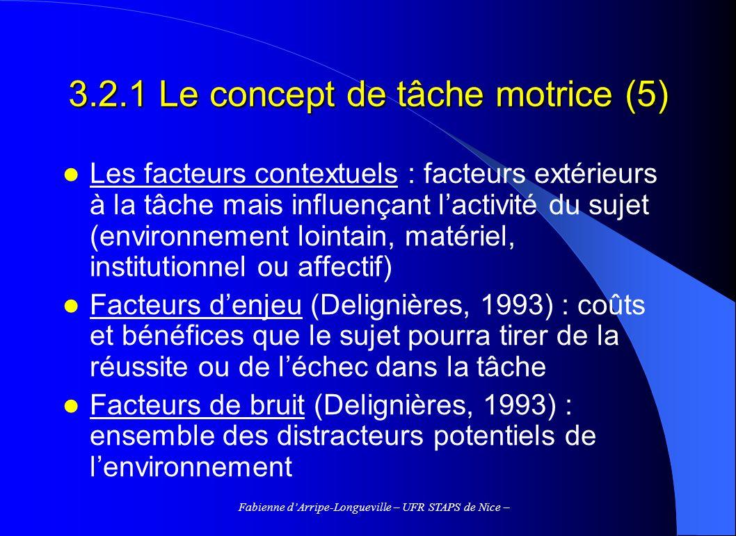3.2.1 Le concept de tâche motrice (5)