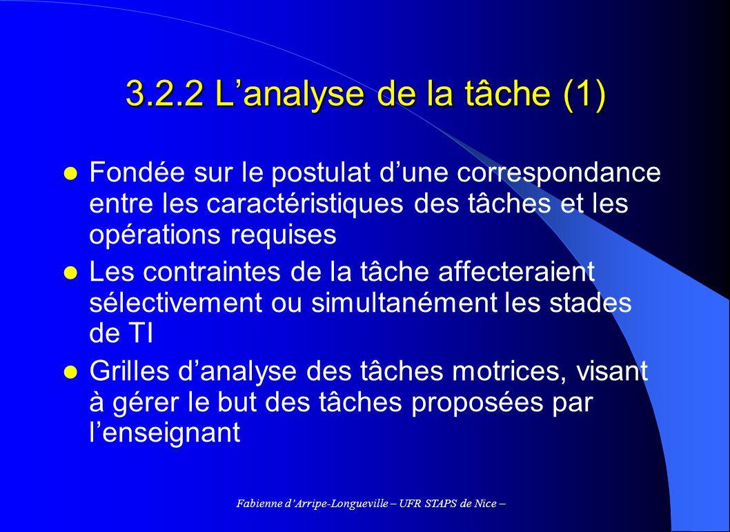 3.2.2 L'analyse de la tâche (1)