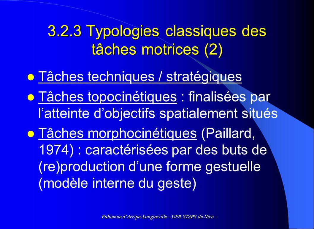 3.2.3 Typologies classiques des tâches motrices (2)
