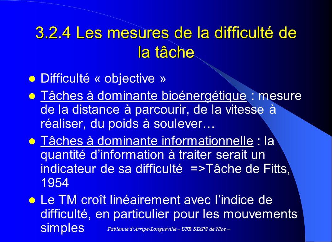3.2.4 Les mesures de la difficulté de la tâche