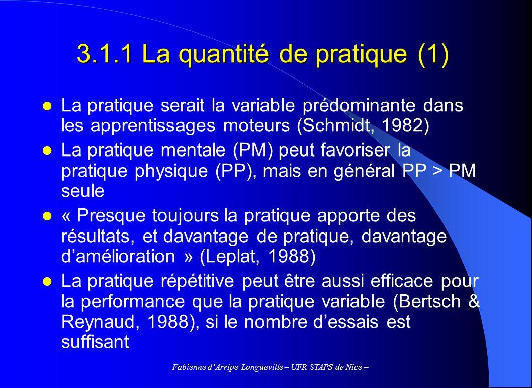3.1.1 La quantité de pratique (1)