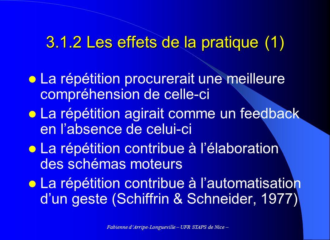 3.1.2 Les effets de la pratique (1)