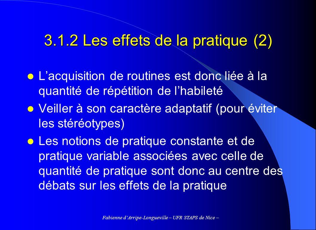 3.1.2 Les effets de la pratique (2)
