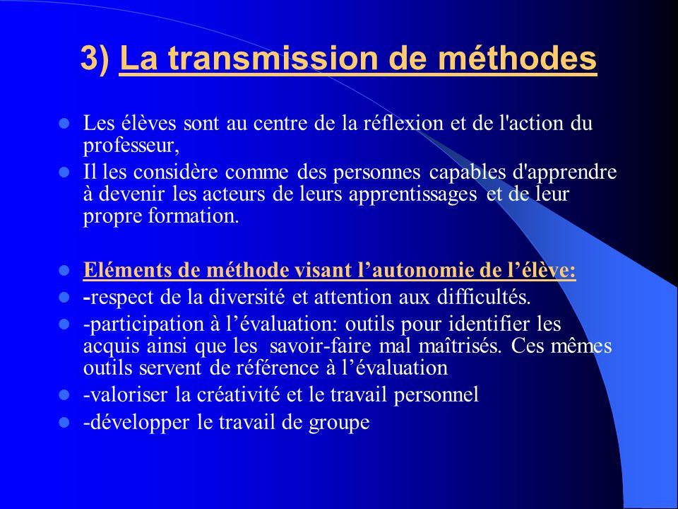 3) La transmission de méthodes