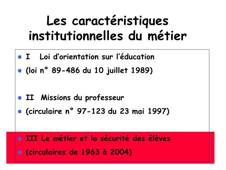 Les caractéristiques institutionnelles du métier