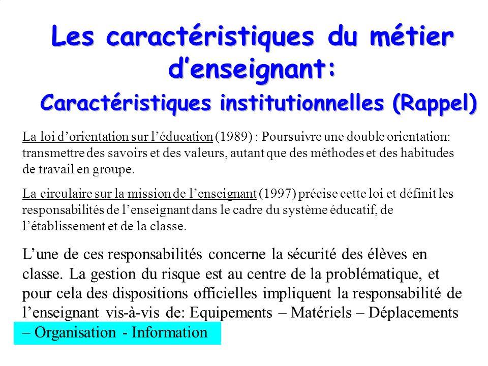 Les caractéristiques du métier d'enseignant: Caractéristiques institutionnelles (Rappel)