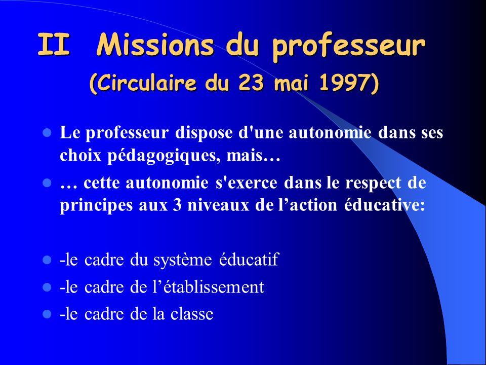 II Missions du professeur (Circulaire du 23 mai 1997)