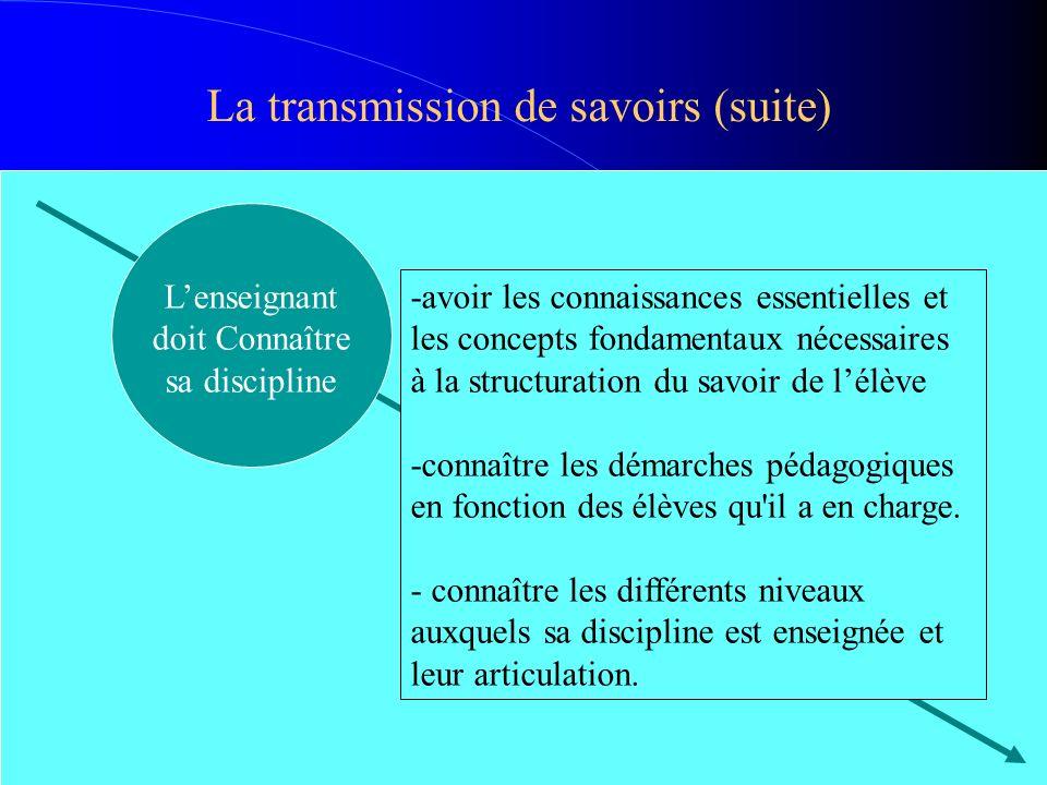 La transmission de savoirs (suite)