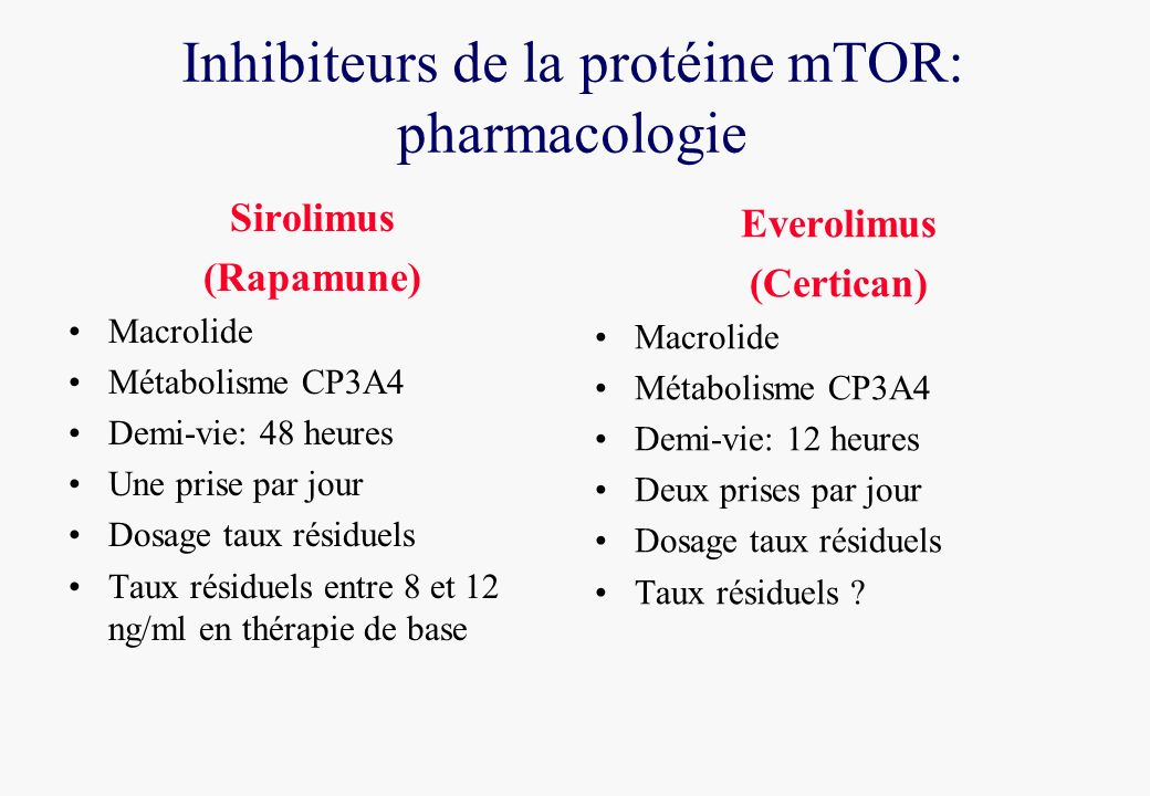 Inhibiteurs de la protéine mTOR: pharmacologie