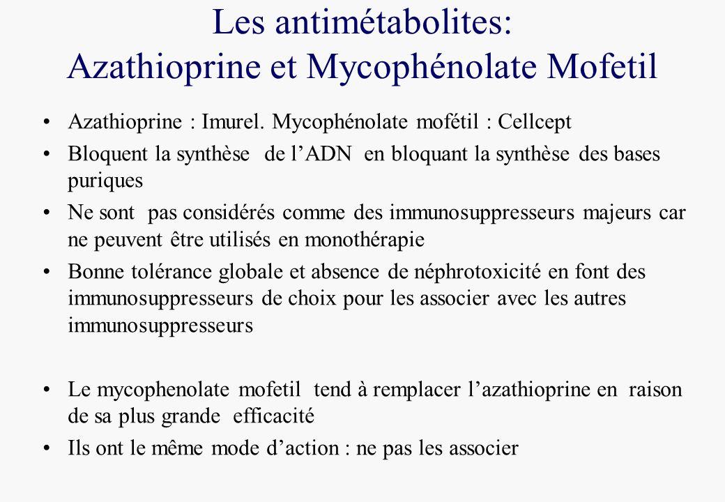 Les antimétabolites: Azathioprine et Mycophénolate Mofetil