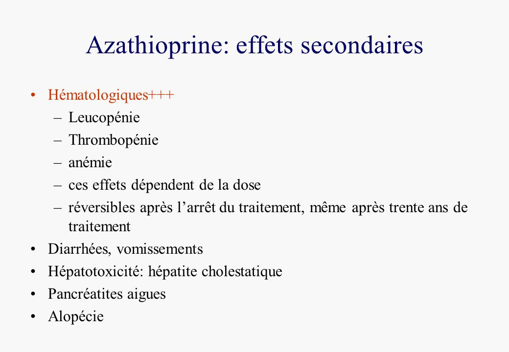 Azathioprine: effets secondaires