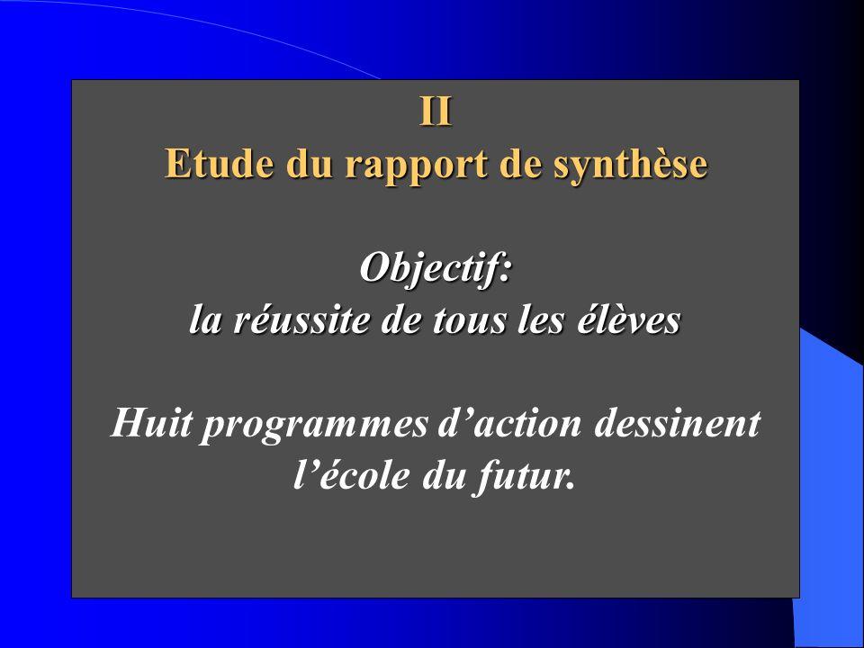 Etude du rapport de synthèse Objectif: la réussite de tous les élèves