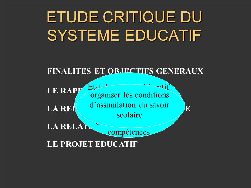 ETUDE CRITIQUE DU SYSTEME EDUCATIF
