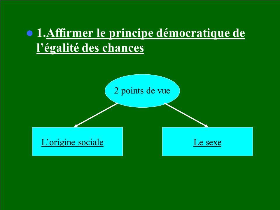 1.Affirmer le principe démocratique de l'égalité des chances
