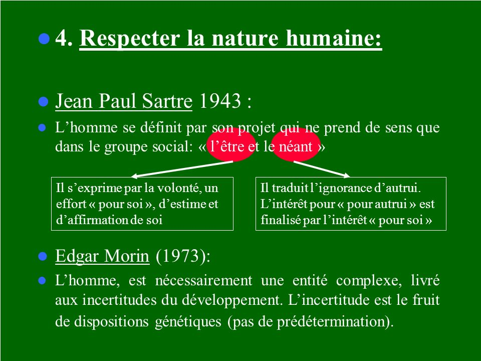 4. Respecter la nature humaine: