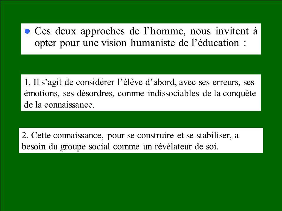 Ces deux approches de l'homme, nous invitent à opter pour une vision humaniste de l'éducation :