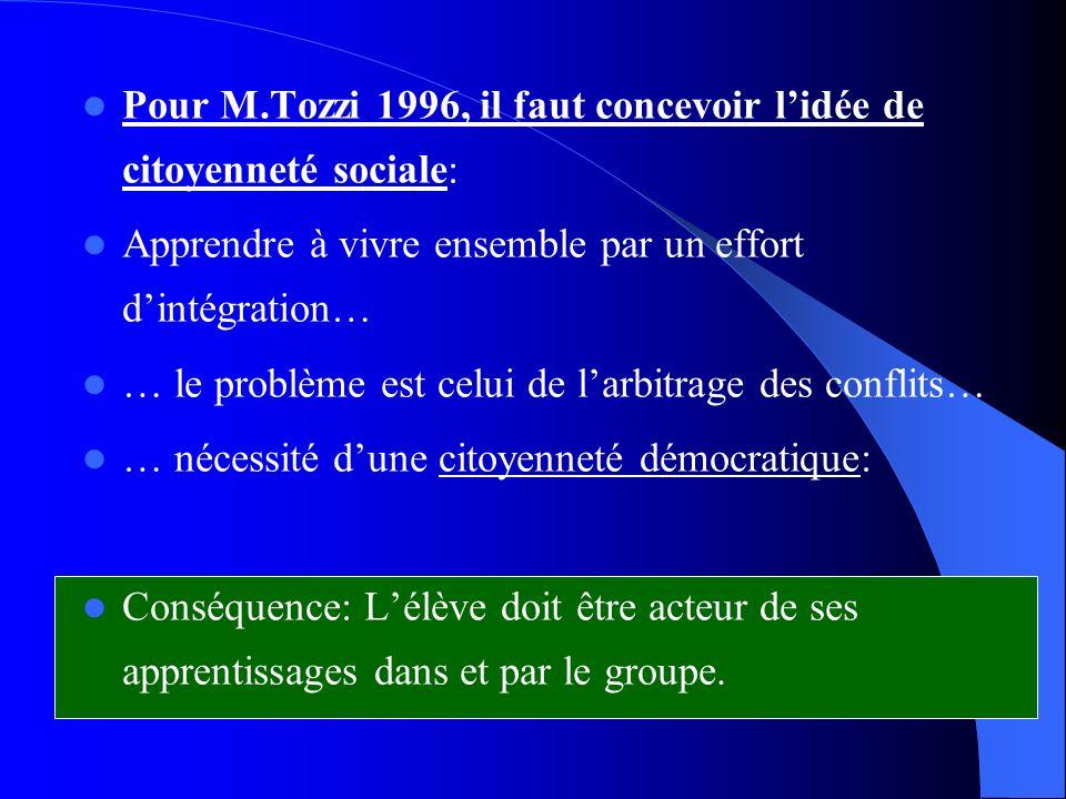 Pour M.Tozzi 1996, il faut concevoir l'idée de citoyenneté sociale: