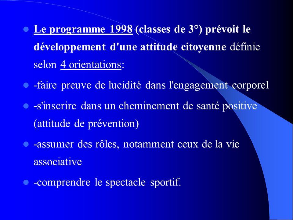 Le programme 1998 (classes de 3°) prévoit le développement d une attitude citoyenne définie selon 4 orientations: