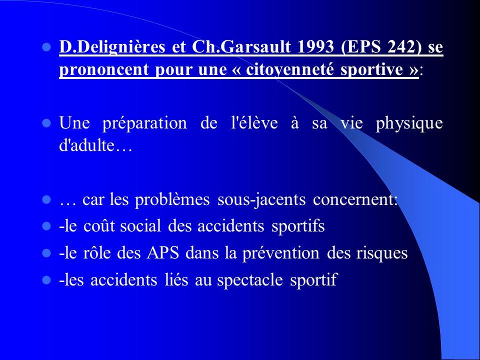 D.Delignières et Ch.Garsault 1993 (EPS 242) se prononcent pour une « citoyenneté sportive »: