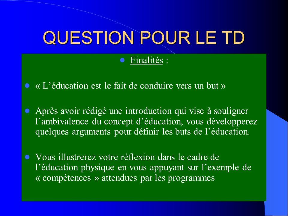QUESTION POUR LE TD Finalités :