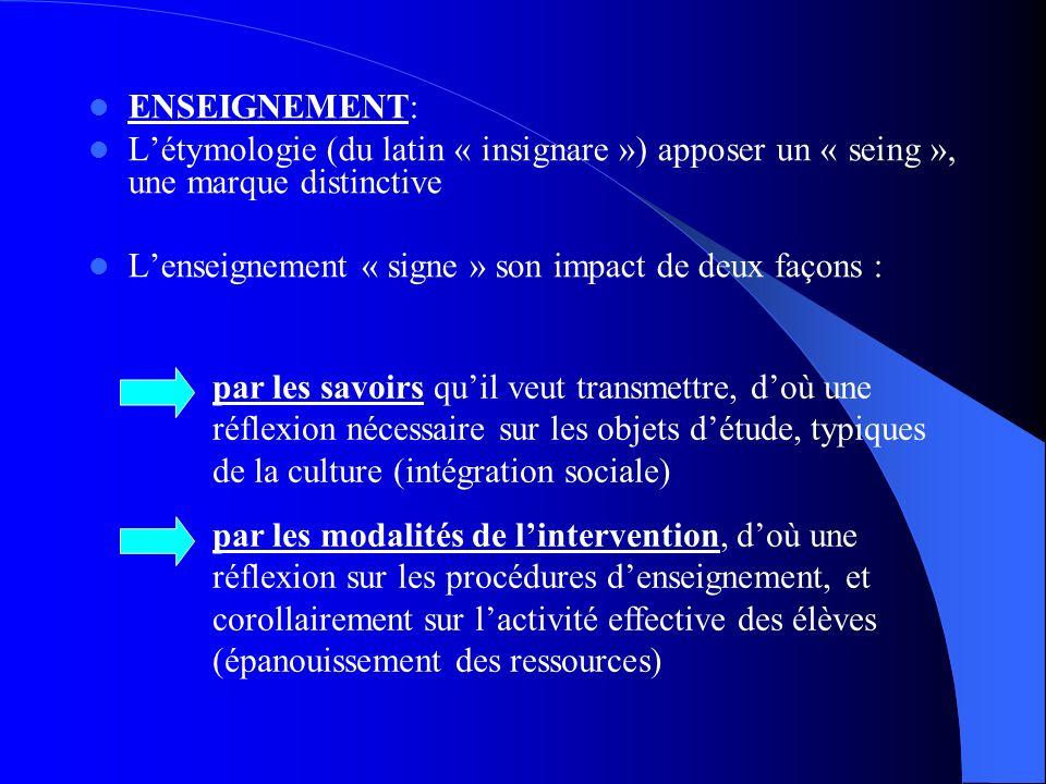 ENSEIGNEMENT: L'étymologie (du latin « insignare ») apposer un « seing », une marque distinctive.