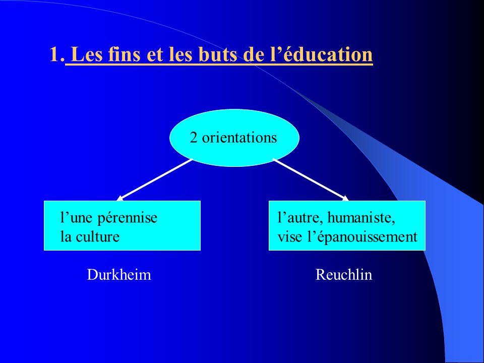 1. Les fins et les buts de l'éducation