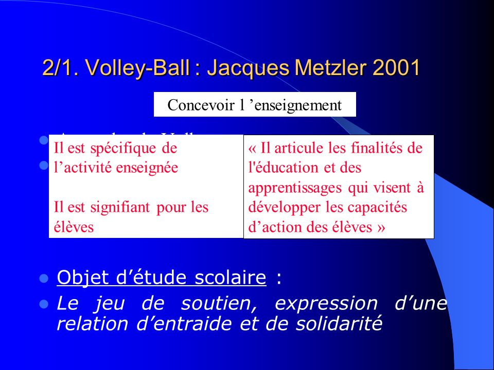 2/1. Volley-Ball : Jacques Metzler 2001