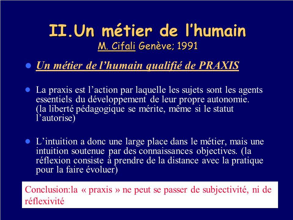 II.Un métier de l'humain M. Cifali Genève; 1991