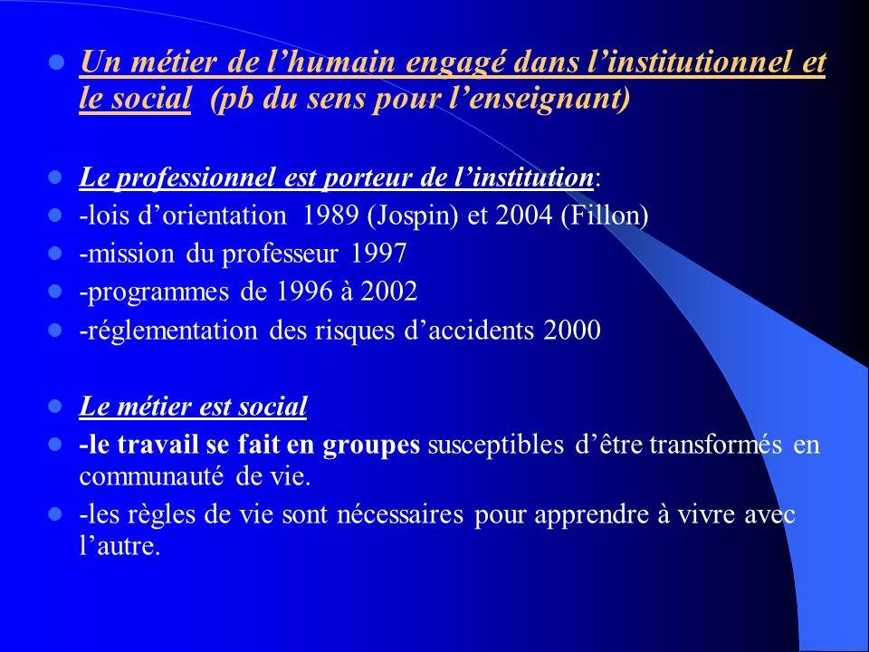 Un métier de l'humain engagé dans l'institutionnel et le social (pb du sens pour l'enseignant)