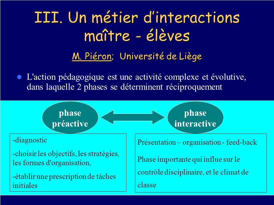 III. Un métier d'interactions maître - élèves M