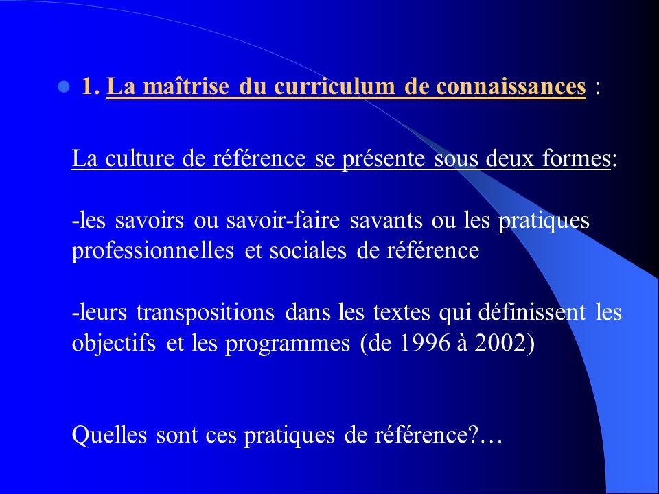 1. La maîtrise du curriculum de connaissances :