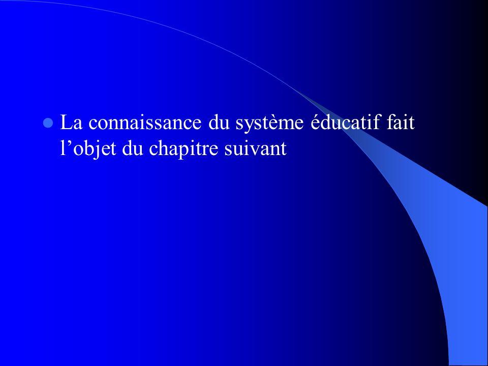 La connaissance du système éducatif fait l'objet du chapitre suivant