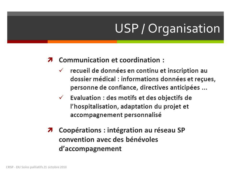 USP / Organisation Communication et coordination :