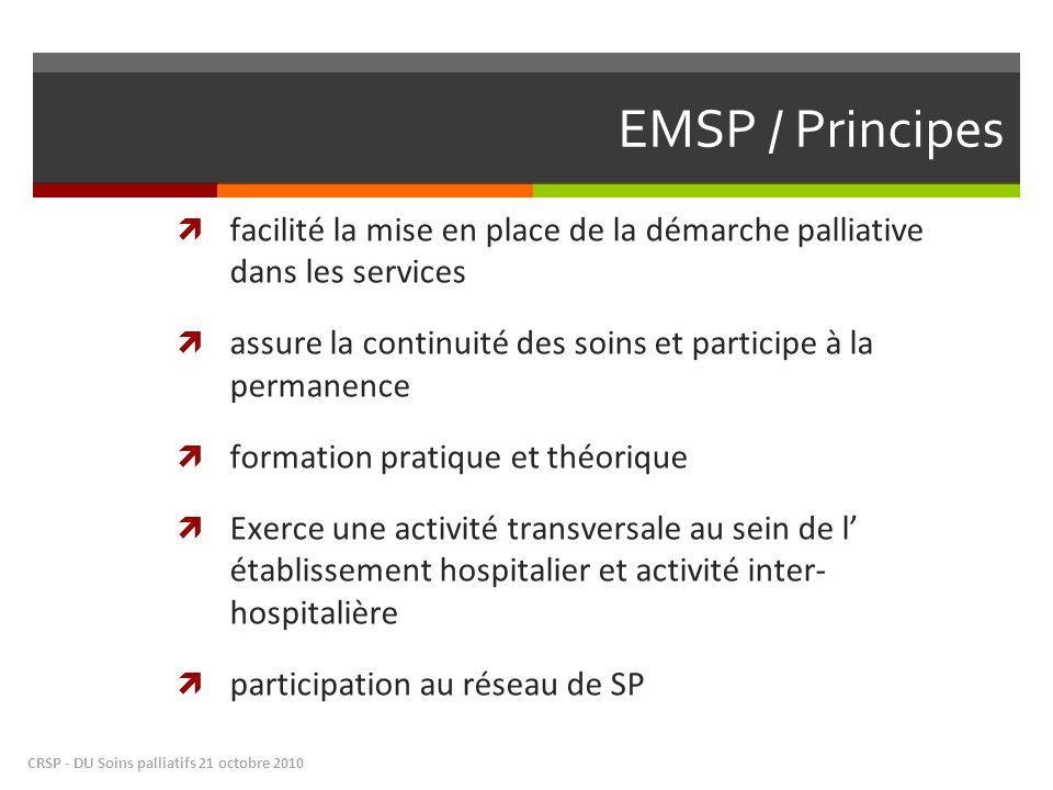 EMSP / Principes facilité la mise en place de la démarche palliative dans les services.