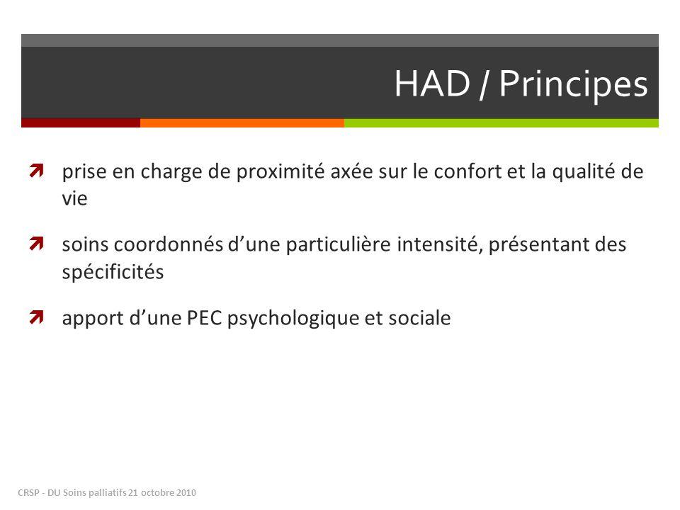 HAD / Principes prise en charge de proximité axée sur le confort et la qualité de vie.