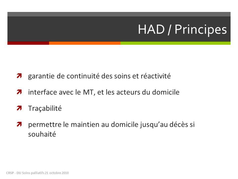 HAD / Principes garantie de continuité des soins et réactivité