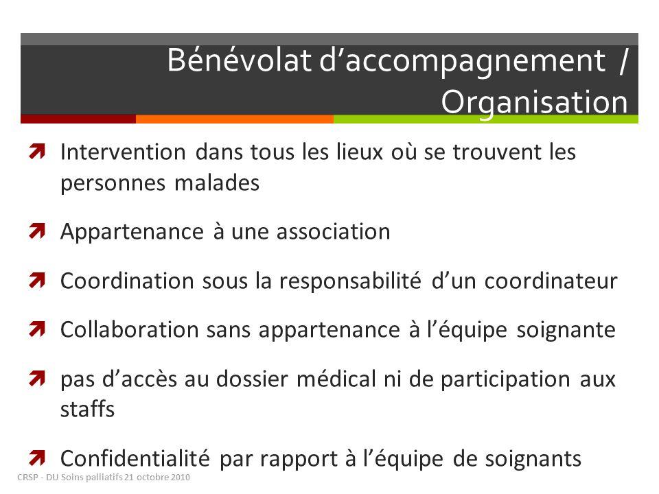 Bénévolat d'accompagnement / Organisation