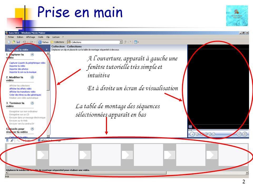 Prise en main A l'ouverture, apparaît à gauche une fenêtre tutorielle très simple et intuitive. Et à droite un écran de visualisation.