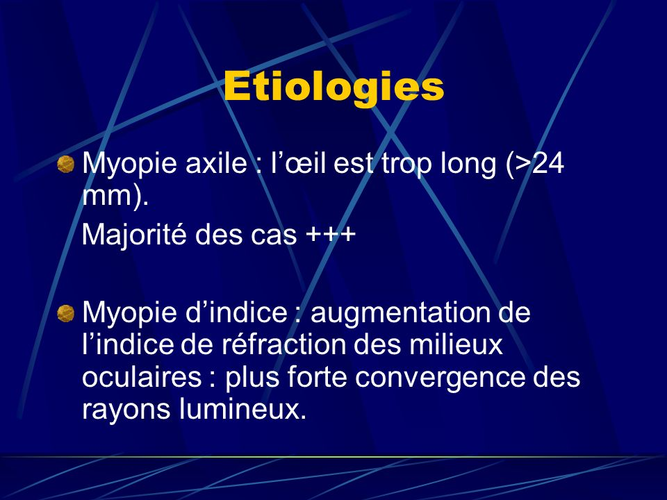 Etiologies Myopie axile : l'œil est trop long (>24 mm).