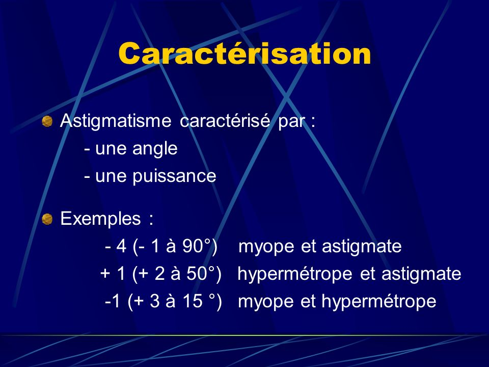 Caractérisation Astigmatisme caractérisé par : - une angle