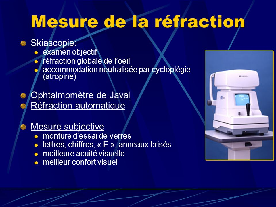 Mesure de la réfraction