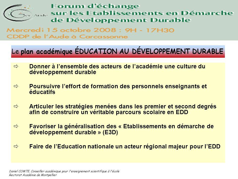 Le plan académique ÉDUCATION AU DÉVELOPPEMENT DURABLE