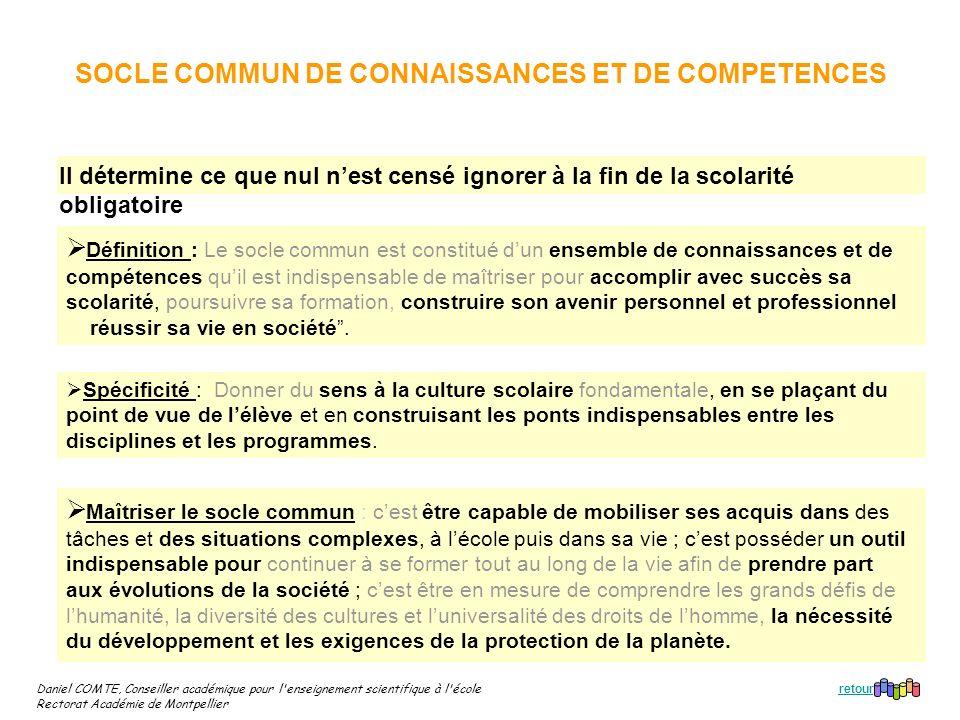 SOCLE COMMUN DE CONNAISSANCES ET DE COMPETENCES