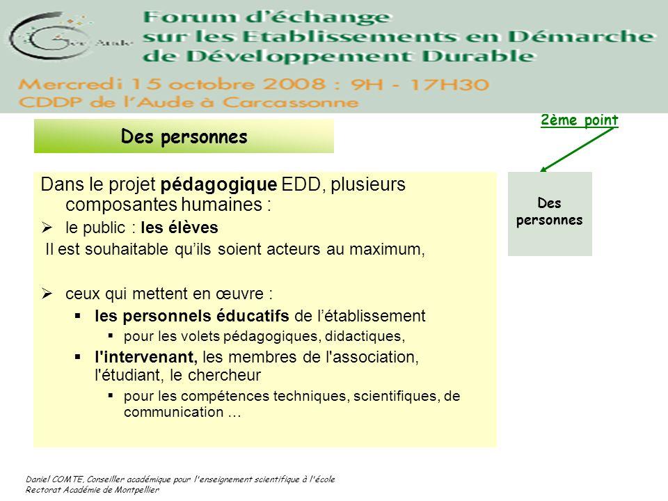 Dans le projet pédagogique EDD, plusieurs composantes humaines :