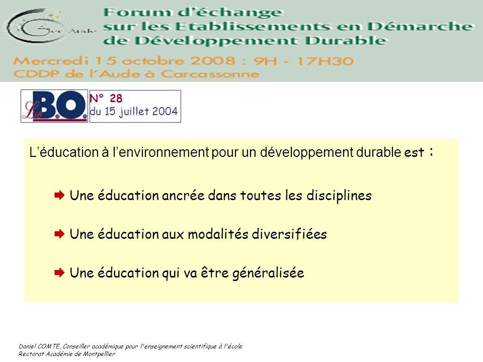 L'éducation à l'environnement pour un développement durable est :