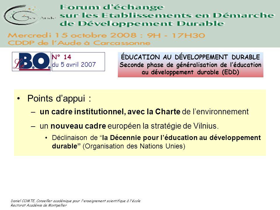 N° 14 du 5 avril 2007. ÉDUCATION AU DÉVELOPPEMENT DURABLE Seconde phase de généralisation de l'éducation au développement durable (EDD)