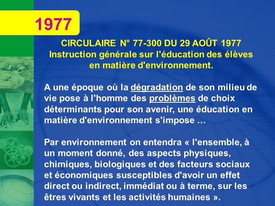 1977 CIRCULAIRE N° 77-300 DU 29 AOÛT 1977. Instruction générale sur l éducation des élèves en matière d environnement.